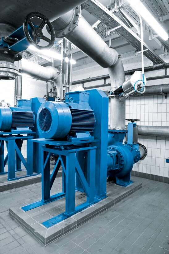 Pumps at the wastewater treatment plant in Sindelfingen, Germany