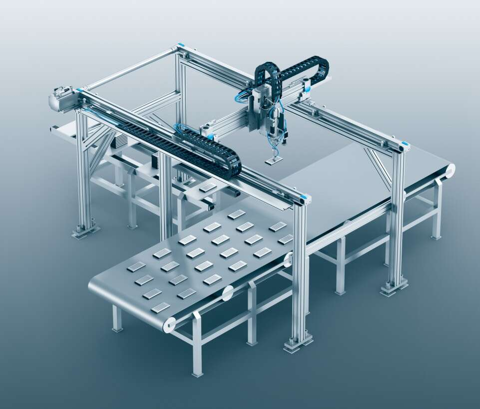 Three-dimensional gantry for assembly in battery manufacturing